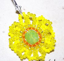 Seed Bead Sunflower Pendant