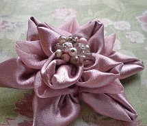 Beaded Satin Flower Brooch