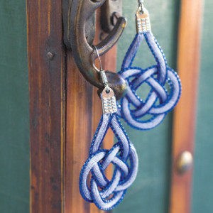 Blue Ice Coin Knot Earrings