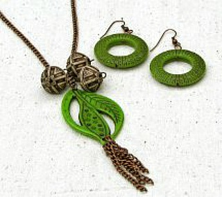 Easy Being Green Necklace and Earrings