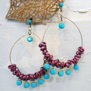 Chain and Crystal Hoop Earrings