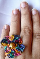 Colorful Crochet Flower Ring