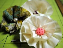 Fabric and Button Flower Hair Pin