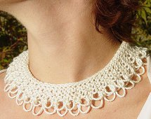 Knitting Pattern For Lace Collar : Lace Knit Collar AllFreeJewelryMaking.com