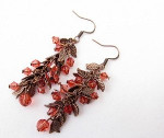 Leaf Chain Copper and Coral Earrings