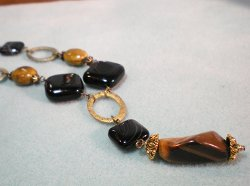 Ovals and Onyx Beaded Necklace