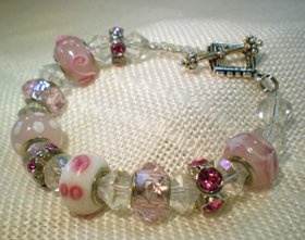 Pandora Style Glass Bead and Crystal Bracelet