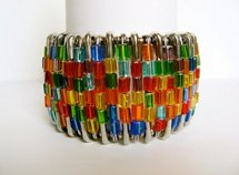 Stained Glass Safety Pin Cuff