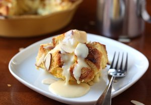 Almond Bread Pudding with Eggnog Sauce