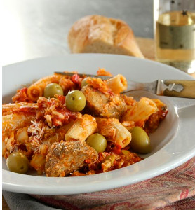 Baked Pasta with Meatballs and Olives