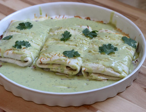 Chicken Enchilada with Avocado Cream Sauce
