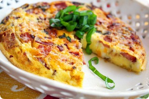 Country Frittata with Ham, Cheddar and Basil