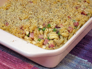 Mac and Cheese with Ham and Peas