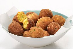 Cheesy Peach Jalapeno Hush Puppies