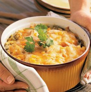 CHicken and Corn Chilaquiles Casserole