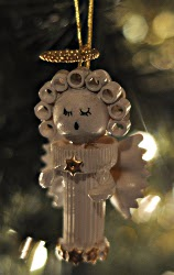 Homemade Christmas Ornaments - Angels. Little Wooden Angel Ornament Pasta Angel Ornaments