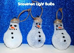 Snowman Light Bulb Ornament
