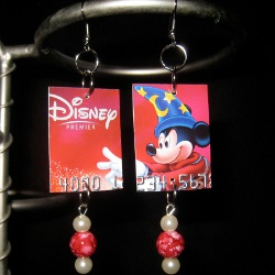 Recycled Gift Card Christmas Earrings