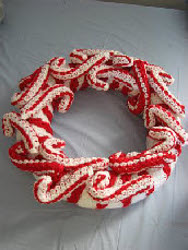 Crocheted Candy Cane Wreath