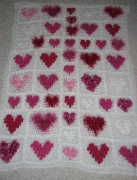 Crochet Afghan Patterns With Hearts : Hearts Of Many Yarn Afghan AllFreeCrochet.com