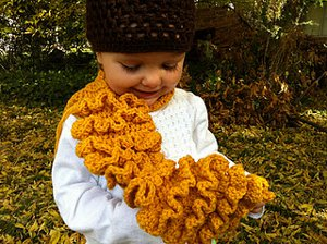 Mustard Colored Ruffled Scarf