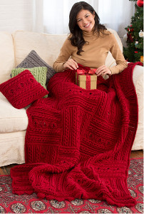 Holly Berries Cable Crochet Throw