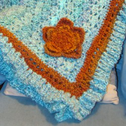 Simple Turquoise and Orange Afghan