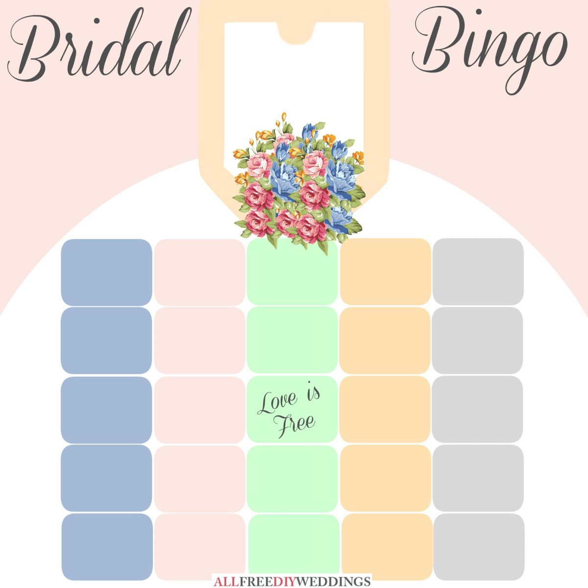 picture relating to Bridal Shower Bingo Free Printable identified as Refreshing Bridal Bingo: Free of charge Bridal Shower Video games