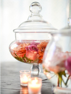 Exquistely Romantic Floating Roses Centerpieces