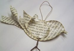 baby bird book page ornament allfreeholidaycraftscom - Book Page Decorations