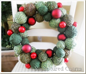 Christmas Yarn and Ornament Wreath