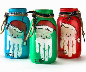Handprint Santa Mason Jars Allfreeholidaycrafts Com