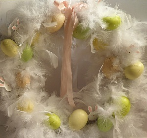 Fluffy Feather Easter Wreath