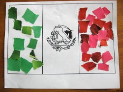 Mexican flag mosaics for Mexican christmas crafts for kids