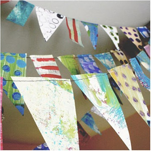 Recycled Party Bunting Chrysanthemum