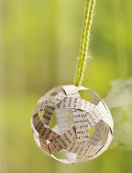 Recycled Book Page Ball Ornament