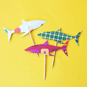 Shark Attach Cupcake Picks