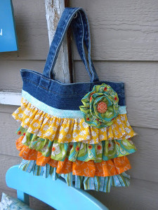 Ruffled Denim Tote