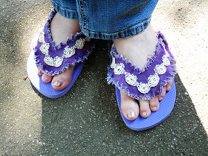 Lacy Denim Sandals