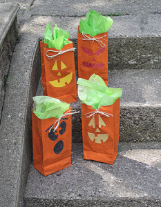 Painted Jack o Lantern Treat Bags