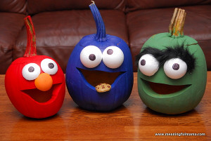 Sesame Street Painted Pumpkins