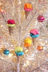 Paper Ice Cream Cone Ornaments