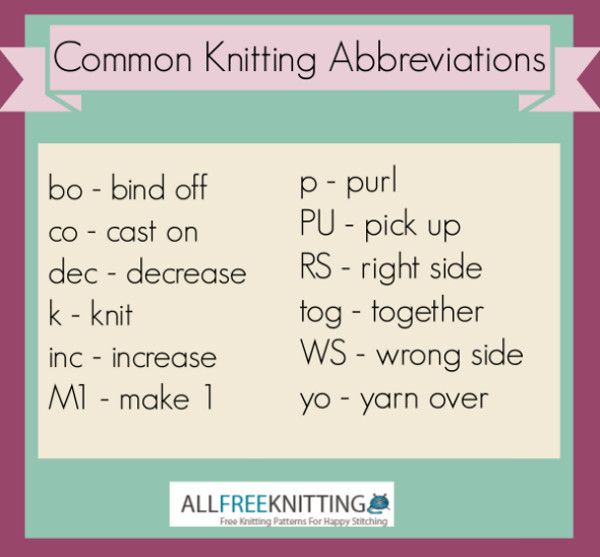 Knitting Kfb Abbreviations : Common knitting abbreviations allfreeknitting