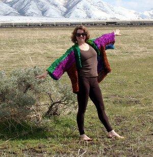 Ch'i Recycled Silk Ribbon Kimono Jacket Kit S-L   AllFreeKnitting com