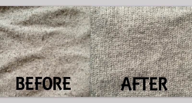 Sweater before and after