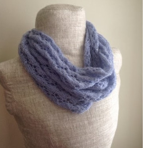 Aran Infinity Scarf Knitting Pattern : Perfect in Periwinkle Lace Infinity Scarf ...
