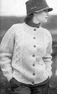 Womens Irish Knit Cardigan AllFreeKnitting.com