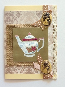 Burlap and Cameo Vintage Card