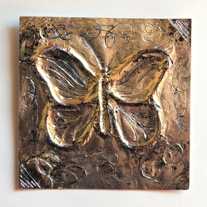 Mock Pewter Floral Butterfly Card