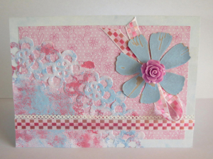 Pinky Blue Stamped Flower Card